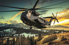 Heavy lift transport helicopter Stock Image