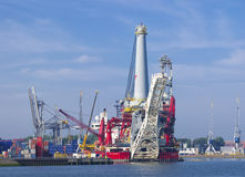 Heavy lift vessel. Seven Borealis in the Rotterdam port. The ship is designed to be used for a range of operations, including platform installation, deck royalty free stock photography