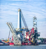 Heavy lift vessel. Seven Borealis in the Rotterdam port. The ship is designed to be used for a range of operations, including platform installation, deck stock photos