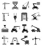 Heavy lifting machines icons set Stock Photos