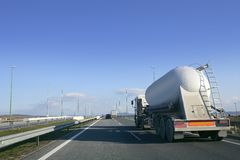Heavy liquid transportation truck lorry. On a road Royalty Free Stock Photos