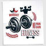 Heavy load power lifting championship advertising poster created with vector illustration of athletic sportsman holding fitness. Dumbbells sport equipment. No stock illustration