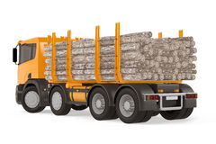 Heavy loaded logging timber truck back Stock Photography