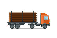 Heavy loaded logging timber truck vector. Stock Photos