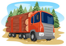 Heavy loaded logging truck in forest Stock Photography
