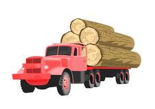Heavy loaded red logging truck isolated on white background. Heavy loaded red logging truck isolated on a white background Royalty Free Stock Images