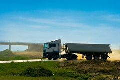 Heavy long truck vehicle Stock Images