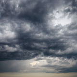 Heavy low storm clouds in evening sky Royalty Free Stock Images