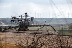 Heavy machine in Garzweiler opencast mining lignite, North Rhine. Westphalia, Germany, controversial energy production against environmental protection arouses stock images