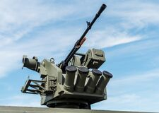 Free Heavy Machine Gun Mounted On The Turret Of A Tank Stock Photography - 195329632