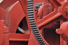 Heavy machinery. Painted in red. Industrial equipment Stock Image