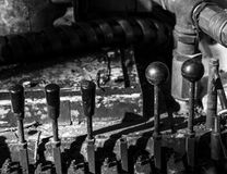 Heavy machinery controls in a row Stock Photo