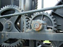Heavy machinery. Detail of an old broad gauge cement mixer Royalty Free Stock Photo