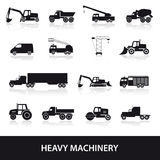 Heavy machinery icons set Royalty Free Stock Images