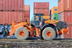 Heavy Machinery in Loading Dock stock images