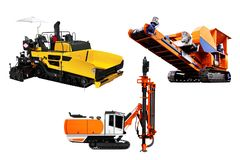 Heavy Machinery Set Isolate on white background. royalty free stock image