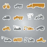 Heavy machinery stickers set Royalty Free Stock Photo