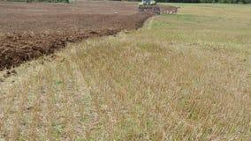 Heavy machinery tractor plow field stork birds in distance stock video
