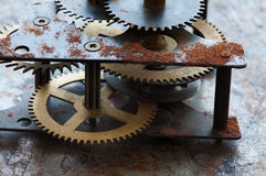 Heavy machinery transmission technology, iron wheels gears connected system. Old rusted mechanism, different type of Royalty Free Stock Photos