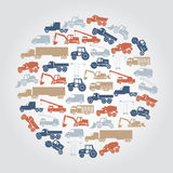 Heavy machinery various color icons in circle Stock Image