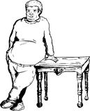 Heavy Man Leaning on Table Royalty Free Stock Photography