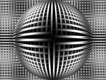 Really heavy metal bulge. Metallic looking geometrical pattern with central sphere Royalty Free Stock Image