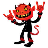 Heavy Metal Devil. Vector cartoon illustration of a grinning devil character with heavy metal, rock and roll, devil horns hand signs royalty free illustration