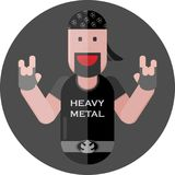Heavy metal fan. In a dark T-shirt Stock Image