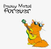 Heavy metal forever Cat in Heavy metal. Vector. Illustration of cat playing music in rock music.  A cute red cat plays heavy music Royalty Free Stock Photo