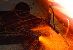 Heavy metal grinding in steel industry factory Royalty Free Stock Photography