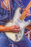 Heavy Metal Guitarist Digital Painting. A digital painting of a heavy metal hard rock guitarist doing a guitar solo on stage Royalty Free Stock Photography
