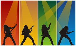 Heavy metal guitarists. Abstract vector illustration of heavy metal guitarist in concert Royalty Free Stock Image