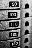 Heavy Metal Gym Stacked Weights. Black and White stock photos