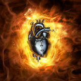 Heavy metal heart. 3D render of grungy metal heart with fire background Stock Photography
