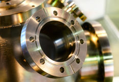 Heavy metal housing with welded flanges. Royalty Free Stock Photos