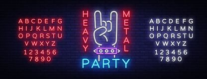 Heavy Metal Party Neon Sign Vector. Rock music logo, night neon signboard, design element invitation to Rock party. Concert, festival, night advertising, light Stock Photo