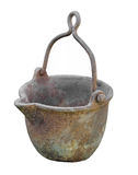 Heavy metal pot isolated. Old and worn heavy metal hanging pot with spout, used to heat up and melt metal.  Isolated on white Royalty Free Stock Photo