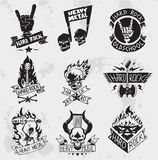 Heavy Metal rock badges vector set. Vintage coal mining emblems, labels, badges, logos. Monochrome style heavy metal rock badges logo classic band typography Royalty Free Stock Photography