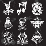 Heavy Metal rock badges vector set. Vintage coal mining emblems, labels, badges, logos. Monochrome style heavy metal rock badges logo classic band typography Royalty Free Stock Photos