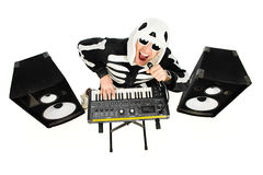 Heavy metal. Rock musician in a skeleton costume playing the synthesizer and singing. Music. Halloween Stock Image