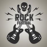 Heavy metal or rock poster with guitar and skull Royalty Free Stock Images