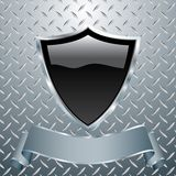 Heavy metal shield. Vector blank black shield on heavy metal Royalty Free Stock Photos