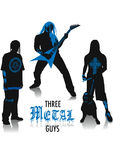 Heavy-metal silhouettes. Two-tone silhouettes of three Heavy-metal guys, part of a collection of street style people Stock Images