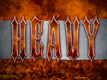Heavy Metal Themed background. 'Heavy Metal' wording made from flames and chrome/metal/steel on a grunge silver metallic background with cool flames Stock Image