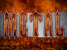 Heavy Metal Themed background. 'Metal' wording made from flames and chrome/metal/steel on a grunge silver metallic background with cool flames Royalty Free Stock Images