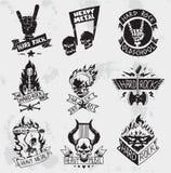 Heavy metal vaggar emblemvektoruppsättningen Royaltyfri Fotografi