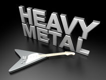 Heavy Metal. The word heavy metal with a generic guitar. 3D rendered Illustration Royalty Free Stock Photography
