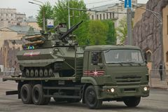 Heavy military vehicle. Russian heavy fighting robot tank uranium 9. Moscow / Russia - May 6, 2018: rehearsal of the parade dedicated to victory in the Second Royalty Free Stock Photography