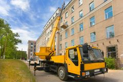 Heavy mobile crane truck Stock Photo