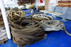 Heavy Mooring Ropes, Greek Ferry Stock Images